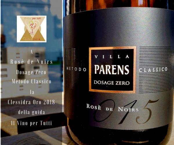 Clessidra Oro a Rosè De Noirs Villa Parens